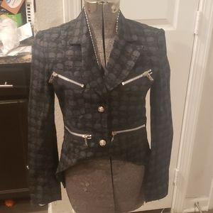 Jackets & Blazers - Goth black grey tail coat